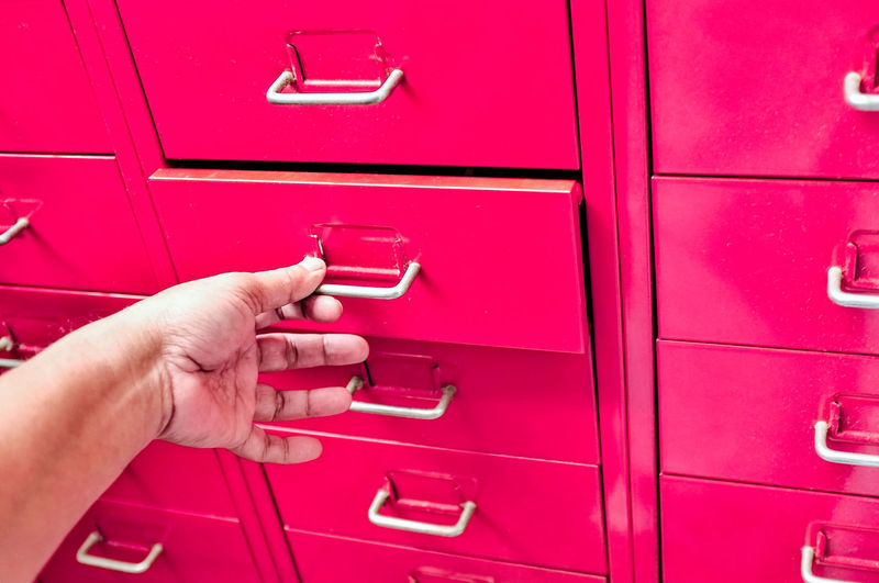 Unrecognizable Person Close-up Indoors  Protection Mailbox Safety Red Security Storage Drawers Office Pink Safe Organised Filing Drawer Human Hand Letter Mail