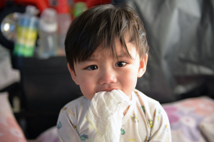 Close-up portrait of cute toddler