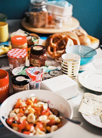 An ordinary breakfast setting in Germany. Breakfast Morning Morning Light Morning Sun Abundance Bowl Bread Choice Food Food And Drink Freshness Good Morning Healthy Eating Indoors  Indulgence No People Plate Ready-to-eat Selective Focus Still Life Table Variation
