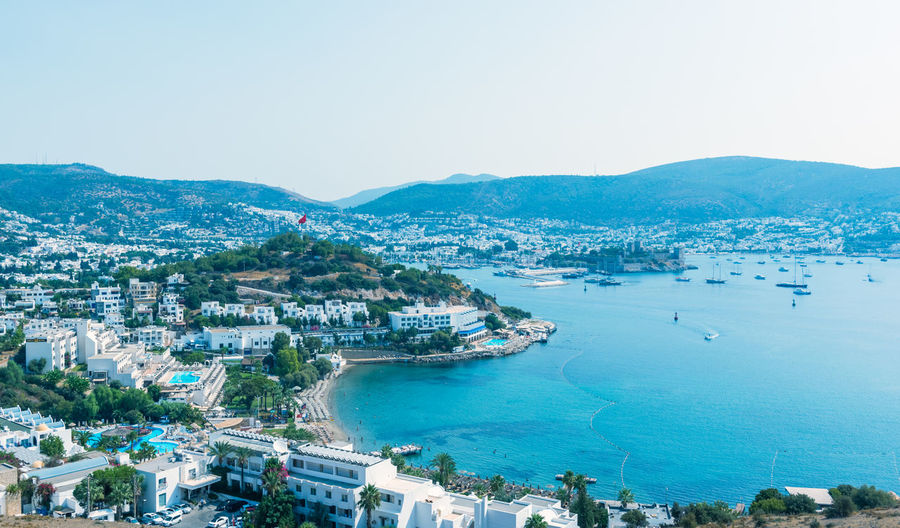 Aegean architecture houses with white color in Bodrum,Turkey. Day Bodrum Destination Popular Photos Turkey Turkish Water Building Exterior Sea Sky Nature Built Structure City Architecture Scenics - Nature High Angle View Beauty In Nature No People Cityscape Blue Mountain Outdoors Land Travel Bay