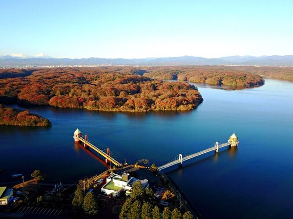Dji DJI Mavic Pro Drone  Dronephotography Autumn Autumn Colors Autumn Leaves ドローン 空撮 Water River Beauty In Nature Built Structure Scenics Transportation Architecture No People Bridge - Man Made Structure Nature Outdoors Nautical Vessel Day Mountain Sky City Scenic Lookout