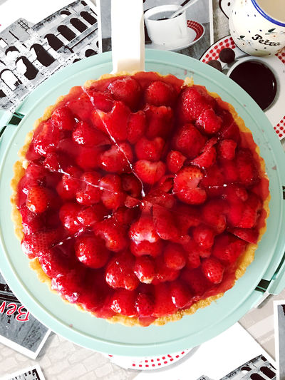 Directly above shot of strawberry on cake