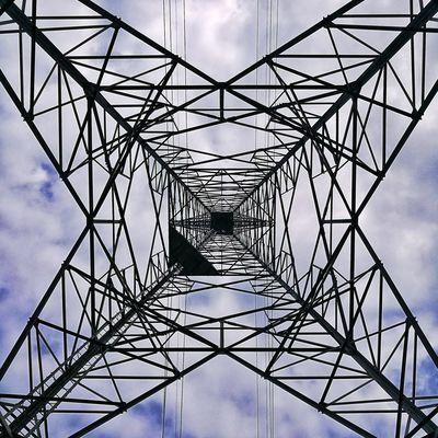 Sky Cloud - Sky Cable Electricity  Connection Electricity Pylon Power Supply Low Angle View Built Structure Outdoors No People Concentric Technology Day Digitally Generated Architecture