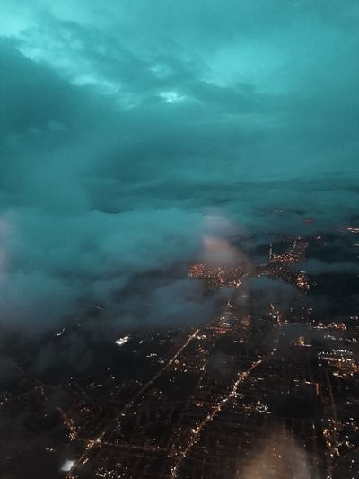 Lights In The City Clouds Aerial Cloud - Sky Sky No People Nature Beauty In Nature Smoke - Physical Structure Environment
