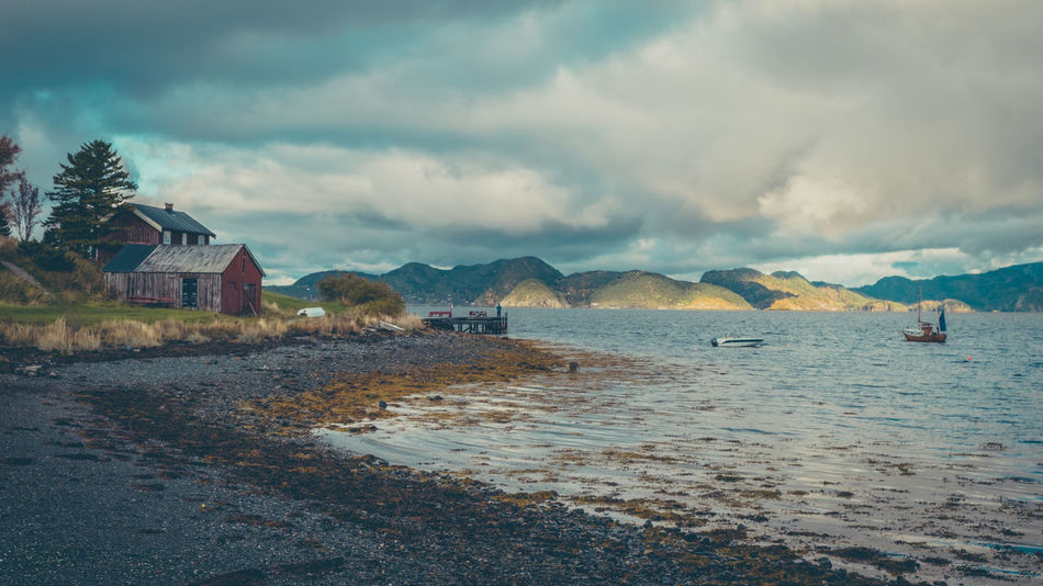 Steinvikholmen Beauty In Nature Cloud - Sky Day House Mountain Nature Outdoors Scenics Sea Sky Tranquility Water