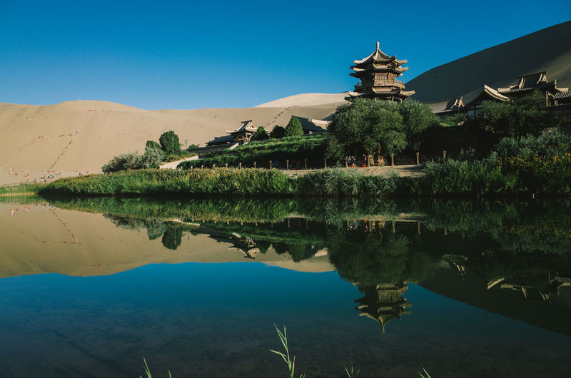China Crescent Moon Lake Deserts Around The World DunHuang Reflection
