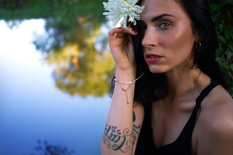 EyeEm Selects Tattoo Arts Culture And Entertainment Individuality Adult Only Women One Person Portrait Adults Only Fashion Headshot One Woman Only Make-up Beauty Body Adornment People Human Body Part Beautiful People Beautiful Woman Looking At Camera Young Women