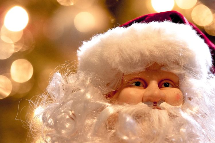 Christmas Lights Glowing Christmas Tree Doll Face Christmas Decoration Spirit Of Christmas Holiday Celebrations Christmas Morning White Beard Santa Claus Christmas Childhood Celebration Night Close-up Indoors  Looking At Camera One Person Portrait
