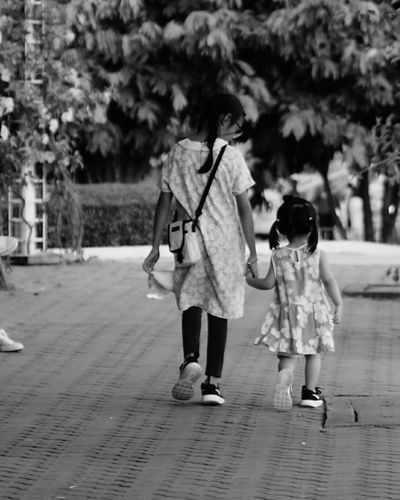 Full Length Walking Girls Child People Adult Togetherness Rear View Leaving Childhood Two People Outdoors Day Friendship Young Adult Children Only City Camera Life Is My Life! Camera Practice Smile :)