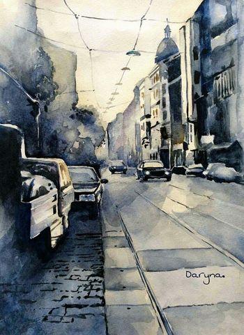My Artwork Art Decor Watercolor Painting Street