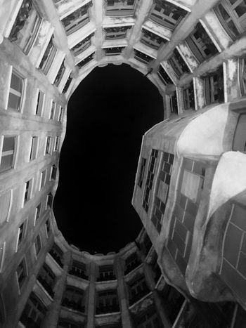 Casa Mila by night Architecture Building Exterior History Urban Geometry Urban Exploration Urban Lifestyle Barcelona, Spain Black & White B&W Collection Black And White Photography Gaudì Architecture Work Gaudi Holidays In Spain Holidays In Catalonia