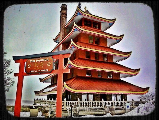 Architecture Text Sky Red Place Of Worship Built Structure Building Exterior No People Travel Destinations Low Angle View Day Outdoors Reading, PA. Reading, Pennsylvania Pagoda