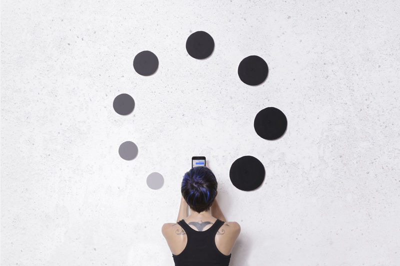 Back Beret Black Blue Blue Hair Connection Connectivity Gray Hat Phone Photo Photography Portrait Portrait Of A Woman Self Portrait Tattoo ❤ Wall White Wall Woman