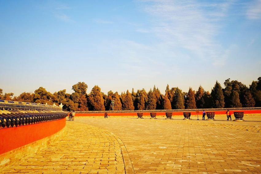 Outdoors Sky Cloud - Sky Travel Destinations Old Building  Leisure Time Traditional Architecture Travel King - Royal Person Ancient Temple Traditional Building China Culture China View Beijing, China Old Architecture Temple Of Heaven Park FUJIFILM X-T10 Warm Winter Light And Shadow Sunlight Freshness Day Scenics Cityscape