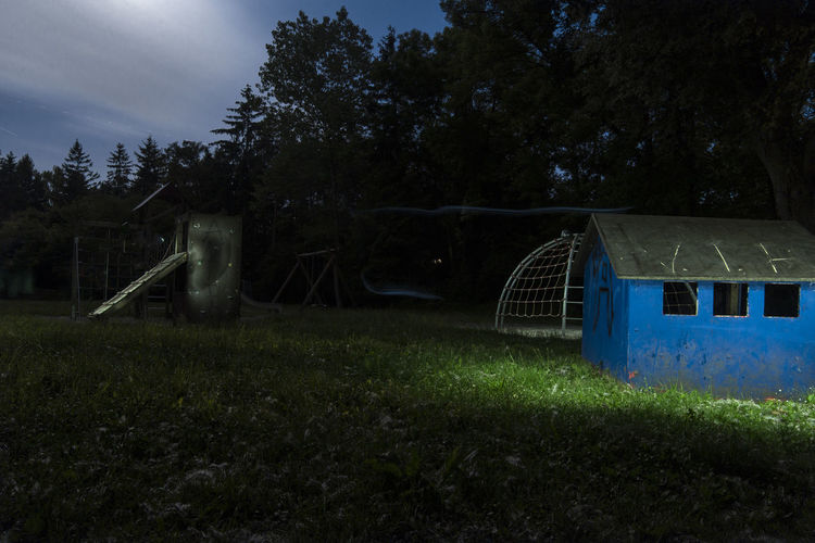 Flashlight Grass House Light Long Exposure Night No People Outdoors Outside Playground Tree