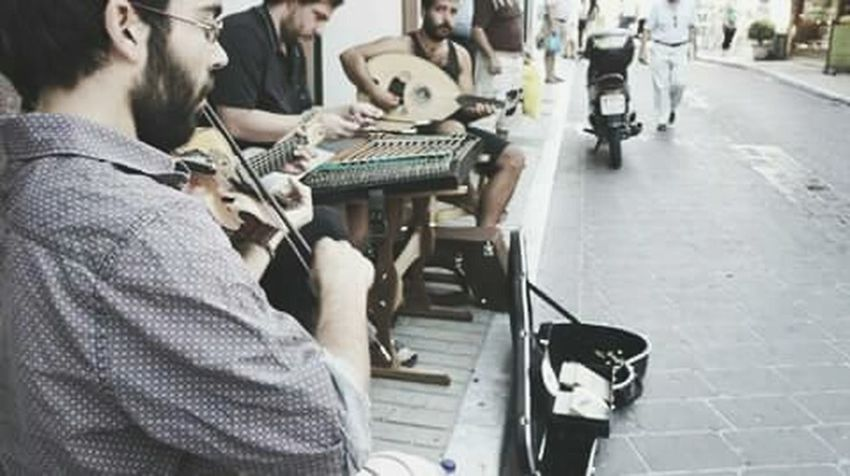 Listen to the sounds in the streets Mytilene Ermou Musicians