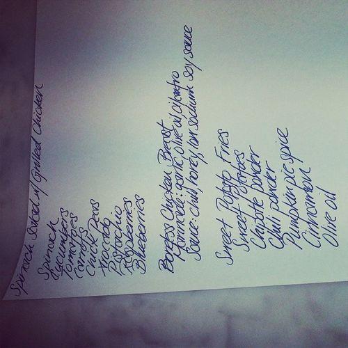 My shopping list for dinner!!! Spinachsalad Veggies Fruits GrilledChicken homemademarinade bonelesschickenbreast sweetpotatofries myversion bakednotfried cleaneating healthycooking takenotesguys lovingmealittlemore familystylecooking hopetheylikeit