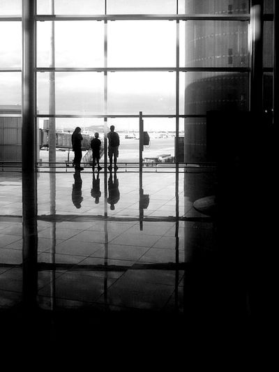 Mobilephotography Monochrome Blackandwhite Airport Silhouette Reflection RePicture Travel Light And Shadow