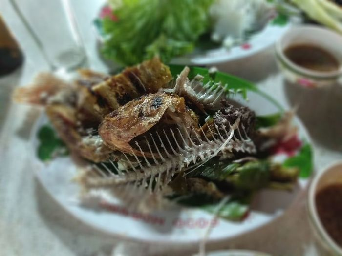Fishbone on place dish, after eating Food Dinner Fish Food Waste No People Day Healthy Eating Ready-to-eat Freshness Nature