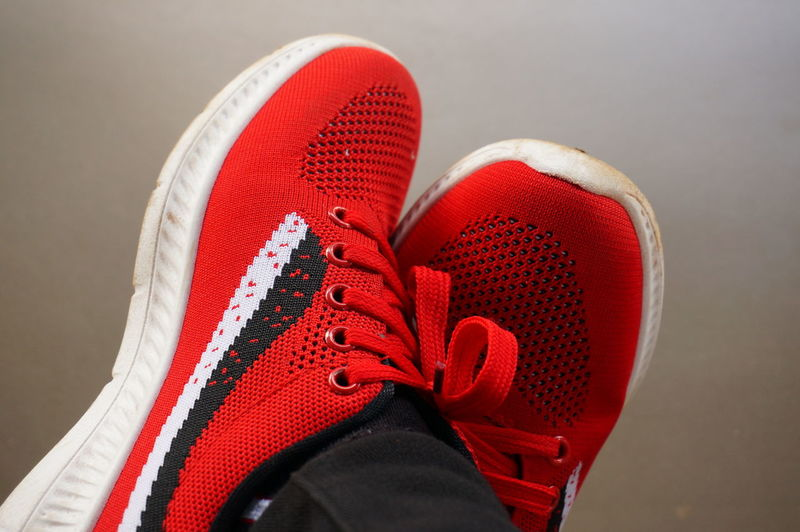 Body Part Close-up Clothing Human Body Part Human Leg Lifestyles One Person Personal Perspective Red Shoe Shoelace