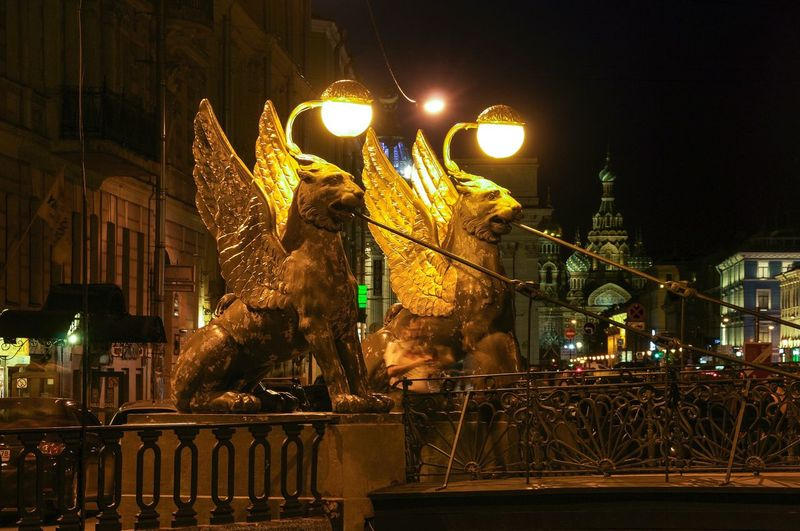 Arch Bridge Built Structure City City Life Dark Gold Bridge Gold Lion Golden Illuminated Lions Night Outdoors Saint Petersburg Saint-Petersburg