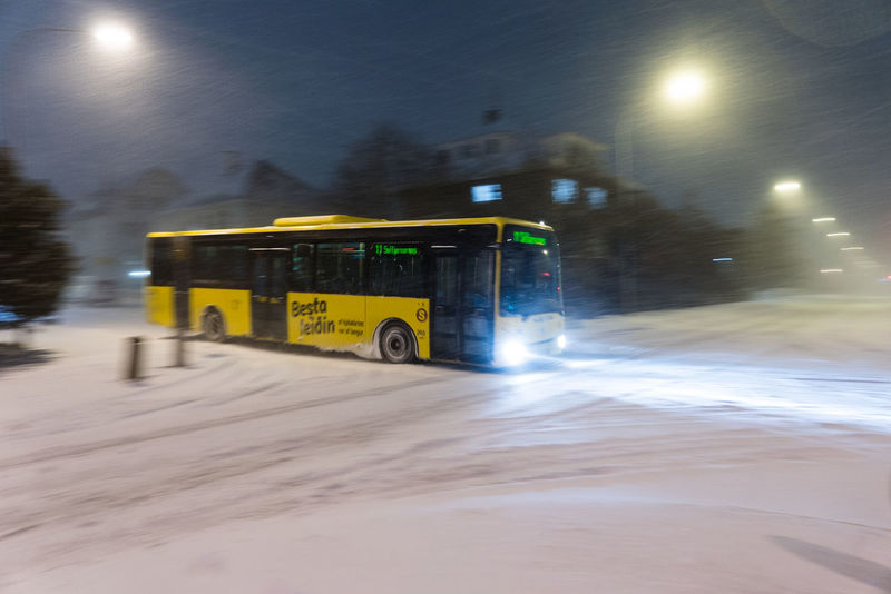Storm Bus Snow Winter Buslife Winter Bus Snowstorm Iceland Bestaleiðin Street Blurred Motion Speed