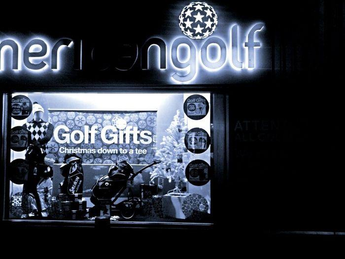 Golf Night Lights Blackandwhite