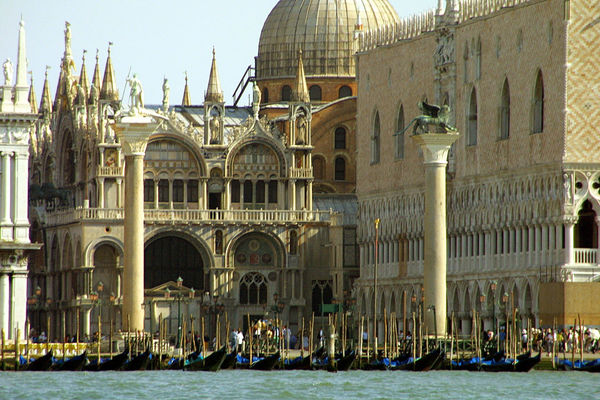 St. Marks Square from the Grand Canal - Venice, Italy Arch Architecture Building Exterior Canal Day Gondola Gondola - Traditional Boat Gondolier Nautical Vessel No People Outdoors St Marks Square The World Before Bin Laden Tourism Transportation Travel Destinations Vacations Venice, Italy Water