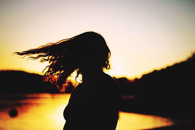 Hair Sunset Lake Silhouette Spin Girl Woman 50mm Bokeh Blur Motion Simple Lakeshore Acworth Georgia Canon Beautiful Summer