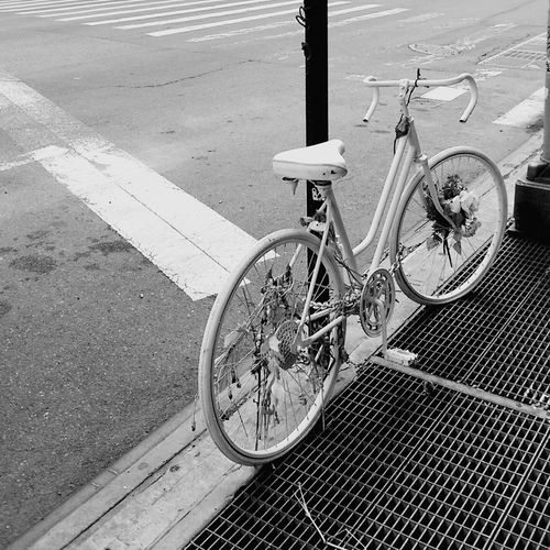 Monochrome Photography Up Close Street Photography Ghost Cycle Taking Photos White Cycle Black And White Street Photography Black And White Photography Up Close