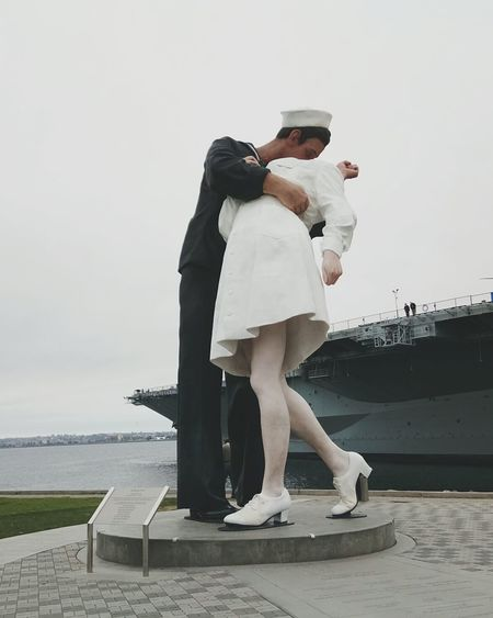 Two People The Kissing Statue USS Midway  Uss Midway Museum USS Midway San Diego San Diego Beach Love Togetherness On A Holiday