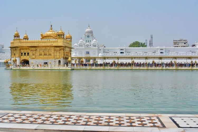 View of golden temple against clear sky