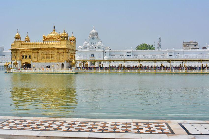 Divine God Gold Golden Temple India Water Reflections Amritsar Architecture Day Gurudwara History Outdoors Place Of Worship Religion Religious  Satnam Waheguru Serene Sky Spirituality Temple Tourism Travel Travel Destinations Water