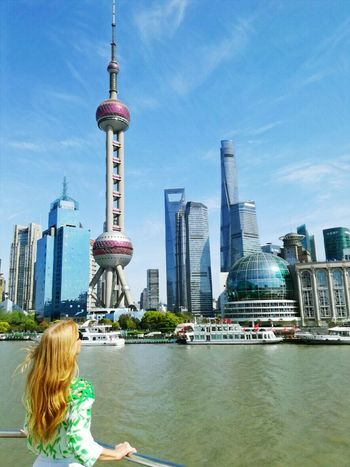Beautiful Shanghai Shanghai Skyline Skyline Shanghai Woman Red Hair Red Hair Woman Skyscraper Architecture Shanghai Tower Urban Skyline One Woman Only Shanghai Photography River View Travel Destinations Tower Women Water Business Finance And Industry Connected By Travel