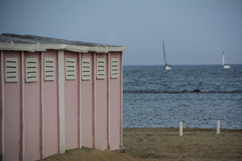 Beach Sea Water Sand Outdoors Horizon Over Water Sail Boat No People Beach Cabins EyeEm Best Shots The Week On EyeEm EyeEmBestPics Nikon D7100 EyeEm Gallery From My Point Of View