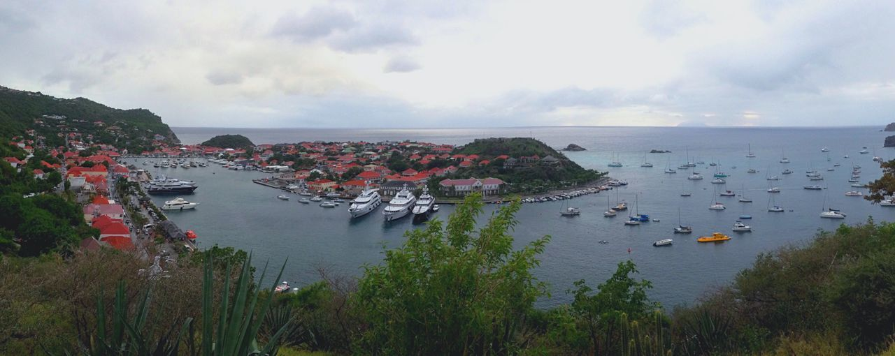 Caribbean Island St Barths Landscape Boats Caribbean Sea Bay Pier Yachts Harbour Nature Panoramic View Panorama Landscapes With WhiteWall