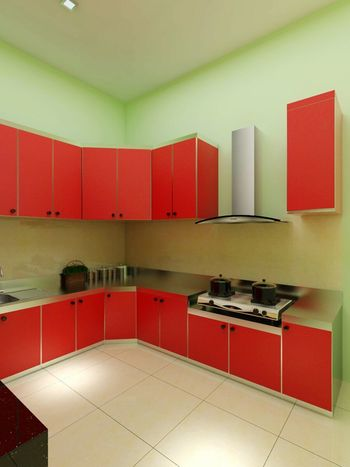 Domestic Kitchen Domestic Room Indoors  Kitchen Home Interior Red Built Structure