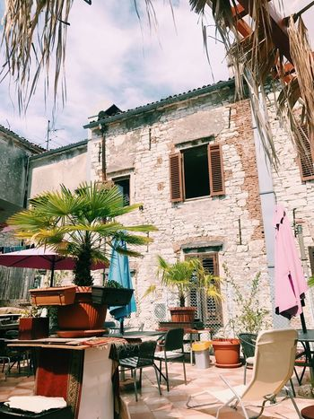 Our hostel. I'm 30 and o still like hostels. The Mediterranen Summer Pula Croatia House Local Neighborhood Urban Building Exterior Architecture Built Structure Building Chair Seat Plant No People Residential District Potted Plant