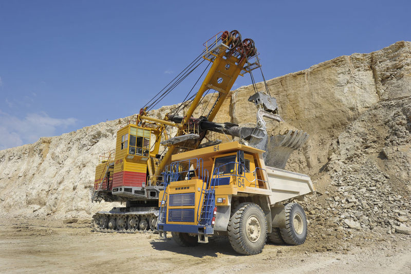 Earth mover working at quarry
