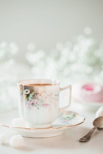 Morning Coffee Cup Coffee Food And Drink Cup Hot Drink Drink Mug Tea - Hot Drink Tea Cup Tea Ceramics Saucer Focus On Foreground Sweet Food