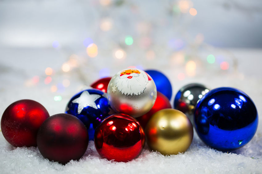 Ball Celebration Christmas Christmas Decoration Christmas Ornament Close-up Cold Temperature Decoration Focus On Foreground Holiday Indoors  Multi Colored No People Selective Focus Shape Shiny Snow Sphere Winter