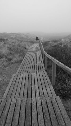 Walking into moonland Outdoors Nature No People Vanishing Point From My Point Of View Travel Photography Blackandwhitephotography Monochrome Photography EyeEm Best Shots - Black + White Beauty In Nature Monochrome Nature Sky Walking Away Dunes Outdoors Photograpghy  Fog Tranquil Scene Miles Away Lost In The Landscape