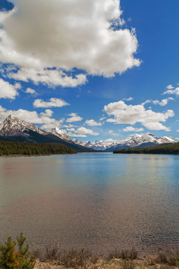 Alberta EyeEm Best Shots EyeEm Nature Lover Beauty In Nature Canada Day Jasper National Park Lake Landscape Maligne Lake Mountain Mountain Range Nature No People Outdoors Scenics Sky Tranquil Scene Tranquility Vertical Water Waterfront