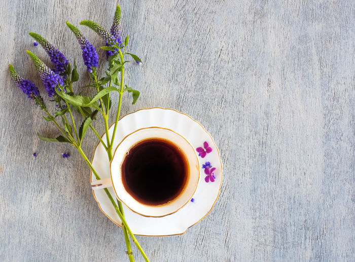 Table Plant Freshness Flower Flowering Plant Cup Food And Drink Drink Purple Mug Refreshment Tea Nature High Angle View Indoors  Still Life Directly Above No People Close-up Tea - Hot Drink Hot Drink Lavender Flower Head Crockery Tea Cup
