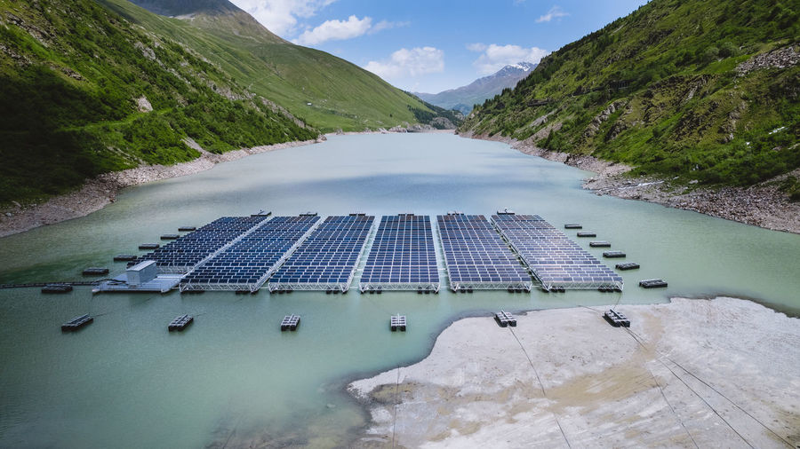 Photovoltaics power plant on a lake