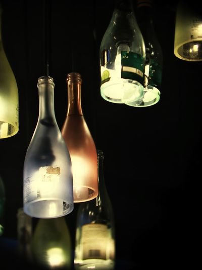 Floating bottles No People Night Hanging Bottle Electricity