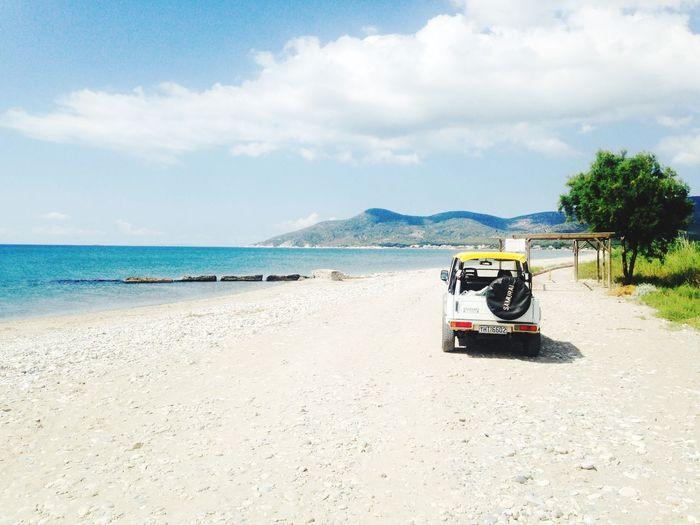Jeep Car Greece Beach Nature Ocean View Blue Beautiful