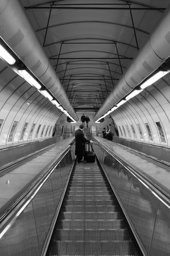 Lights Perspective Prague Reflection Blackandwhite Diminishing Perspective Escalator Illuminated Men Moving Walkway  Railing Real People Technology The Way Forward Transportation Travel