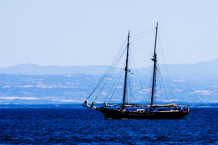 Sailing ship navigating in a summer day Tirreno Travel Beauty In Nature Blue Clear Sky Day Italy Mode Of Transport Nature Nautical Vessel Navigation Sailboat Sailing Sailing Ship Scenics Sea Summer Transportation Water