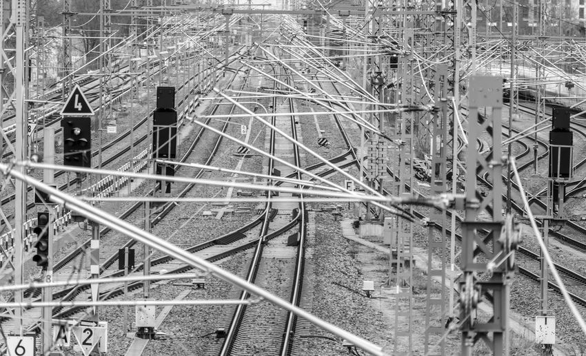 Black And White Lichtenberg Railway Complexity Logistic Urban Rail Transportation Built Structure Architecture High Angle View Day Metal Connection No People Transportation Railing Outdoors Nature Track Railroad Track Technology Steps And Staircases Mode Of Transportation Construction Site Power Supply